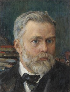 [[[VALENTIN ALEXANDROVICH SEROV (1865-1911). PORTRAIT OF EMMANUEL NOBEL. Oil on board, 40.5x31.5cm